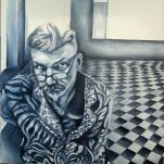 One day I will finish it, and I will be very happy! #chequered #paynesgrey #instagramartist #instagramart #acrylicpainting #artisgoodforyou