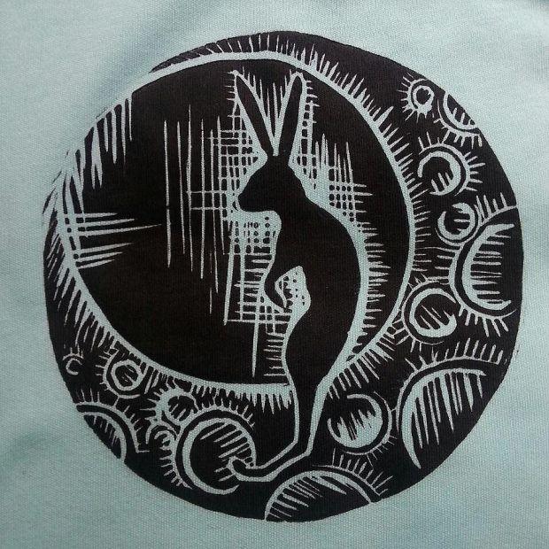 ninja hare#ninja #hare #moon #linocut #printmaking #instagramartist #iloveart