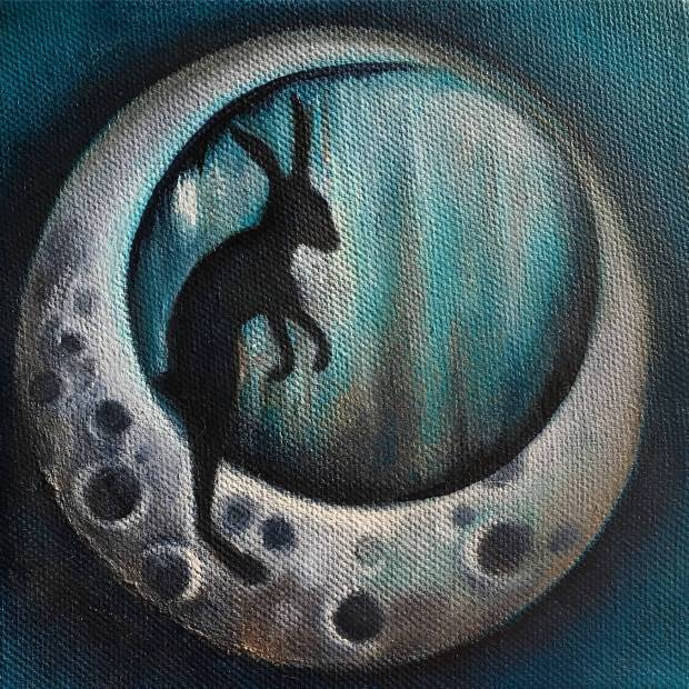 Hare and moon miniature 20x20cm